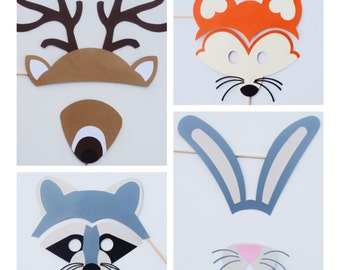 Woodland Animal Photo Booth Props ; Forest Animal Baby Shower ; Boy Baby Shower Props ; Gender Neutral Baby Shower