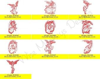 Redwork Angels machine embroidery designs set of 10