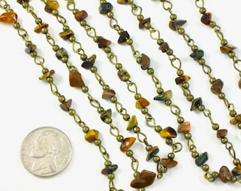 Tiger Eye chips beaded chain in antique brass finish. 39 inch section