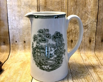 Royal Crownford Ironstone Pitcher Staffirdshire England, 1 1/2 Pint Ironstone Pitcher, Green Transferware, Vintage Ironstone Pitcher