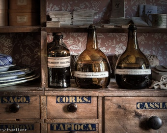 Essence of Life, Old flasks and things on the shelves in The General Store, Fine Art Photography Print