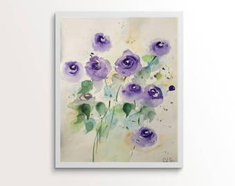 Original watercolor painting art flowers meadow flowers Watercolor Art