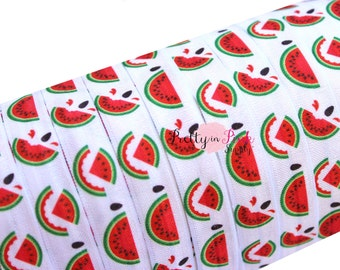 "Watermelon Slices Print Fold Over Elastic- FOE-You Choose Yards-Foldover Print Elastic- Elastic by the Yard- 5/8"" Fold Over Elastic"