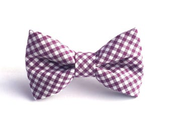 Purple Check Dog Bow Tie