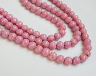 Riverstone beads in pink round gemstone 6mm full strand 9438GS