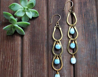 Channels Earrings - Shoulder Duster Long Earrings - Larimar Stone Earrings - Something Blue Earrings