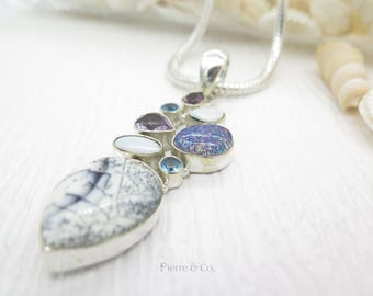 Beautiful pattern Dendritic Agate Amethyst Blue Topaz Sterling Silver Pendant and Chain