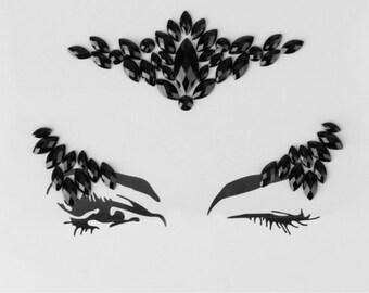Festival Face Jewels | Black Face & Body Jewels Sticker For Festival, Rave, EDC, Coachella | Rave Festival Face Stickers