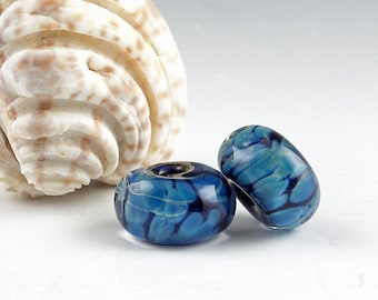 Lampwork Glass Beads, Handmade Lampwork, Jewelry Supplies, Handmade Bead, Artist Lampwork, Lampwork Bead Pair, earring bead pair, Moon Pearl