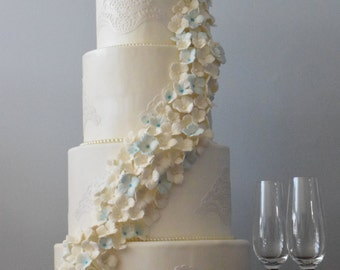 White Hydangea wedding Display cake, Wedding cake, Faux cake, Table decor, Centerpiece, Weddings