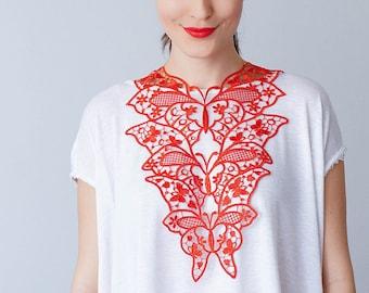 Red Necklace Venise Lace Necklace Lace Jewelry Bib Necklace Statement Necklace Body Jewelry GiftCustom/ FIORDI
