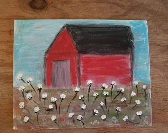 Red Barn in Cotton Field