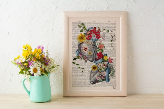 Flowery Hearts in love  human Anatomy art dictionary page , love wall art, human anatomy, science & anatomy art SKA121