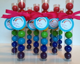 Rainbow Party, Rainbow Party Gumball tube Party Favors, Set of 12, with Tags and Grosgrain ribbon