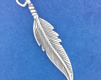 FEATHER Charm .925 Sterling Silver Native American Indian Pendant - f1