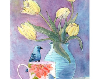 Art Print - Blue - Indigo Bunting -  Yellow Tulips - Watercolor Art - Wall Decor - House Warming Gift - Spring Flowers - Coffee Mug