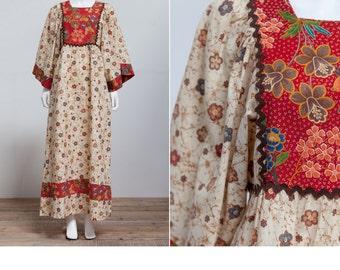 Vintage 70's Hippie Bohemian Bell Sleeve Dress • Festival Dress • Boho Maxi • Hippie Maxi • Empire Waist Maxi dress