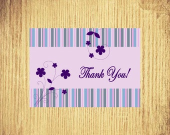 Stripes and Flowers ~ Thank You Card ~ 5 x 7 ~ Digital Download Only