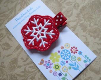 Red & White Snowflake Christmas Hair Clippie