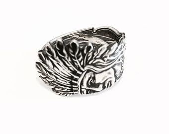 Sterling Silver Spoon Ring - Native American Statement Ring