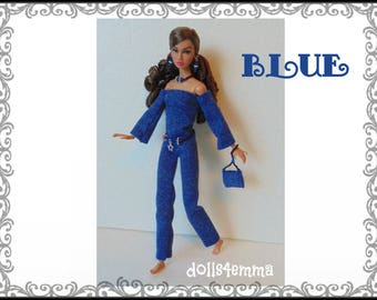 Poppy Parker Doll Clothes - BLUE Funky Jumpsuit, Purse, Belt and Jewelry Set - Custom Fashion - by dolls4emma