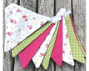 Pink & green floral bunting, cotton fabric, bunting for girls, birthday gift, newborn gift, home decor