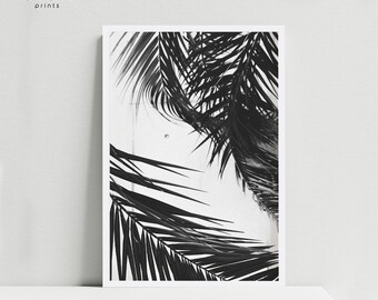 Palm Leaf Print, Palm Tree Print, Palm Print, Tropical Leaves, Black and White Palm Tree, Tropical Poster, Modern Art, Tropical Home Decor