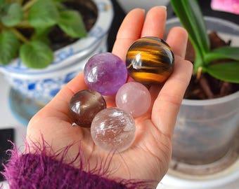 Crystals Set of 5, Rose Quartz Crystal Sphere, Amethyst Sphere, Quartz Crystal Ball, Smoky, Tigers Eye Sphere, Chakra Stones