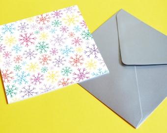 SALE Rainbow Snowflakes card. Thank you card, Penpal, Notelet, Just because card, Best friend card, Snow card, Rainbow card