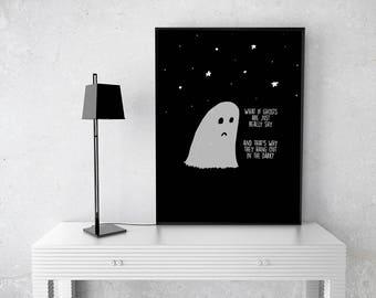 Shy Ghost Illustration | Greeting Card | Art Print | Ghost Illustration | Cute Ghost | Drawing | Wall Decor