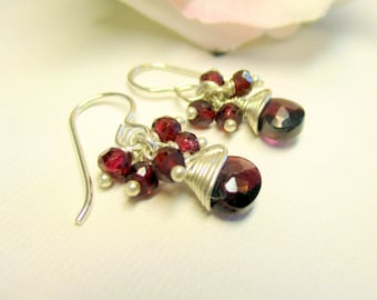 Garnet Earrings, Garnet Cluster Earrings, Long Earrings, Dangle Earrings, January Birthstone, Gemstone Earrings