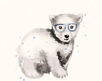 Navy Blue Nursery Art - Polar Bear Art, 8x10 / A4 Print for Baby Boy Nursery, Watercolour and Ink Illustration, Boy Nursery art