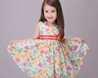 Smiley Oli - Casual Yellow and Pink Floral Toddler Preschooler Girl's Tie Back Dress (Ages 3 - 5)