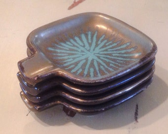 Ash Trays Turquoise Atomic Burst Mid Century Nesting Set 4 West Germany Pottery Tealight Candle Holder Tray