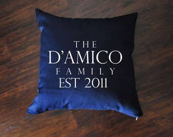 Family Pillow - Last Name Throw Pillow - Accent Pillow with Zipper Closure - 18x18 Throw Pillow - 24x24 Pillow - Lumbar Pillow - Home Decor