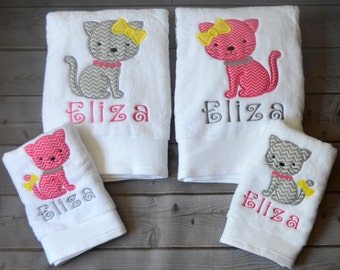 Personalized Bath  or Hand Towel Applique Design for a Girl or Boy Your Choice Design Fabric and Colors