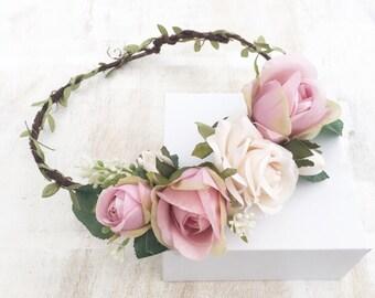 Light pink and ivory rose flower crown - halo - bridal - wedding - bride - flower girl - vintage - festival