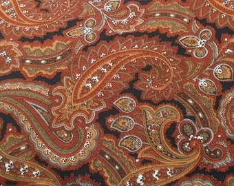 Fabric,  Lighter Weight Quilt Fabric, Lighter Weight Cotton Fabric, Black with Burgundy, Gray and White Paisley Print, VIP, 3 Yd plus