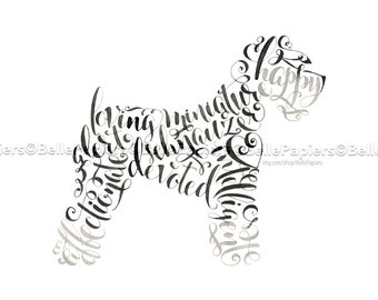 Best in Show Dog Miniature Schnauzer Portrait Sympathy Lost Pet Miniature Schnauzer Memorial Dog Calligraphy Dog Lovers Dog Lovers Show Dog