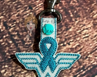 ovarian cancer key fob/key chain/cancer survivor/cancer ribbon/cancer support/teal ribbon/fighter/wonder woman/bag tag