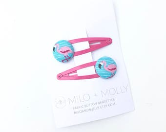 Fabric Button Flamingo Hair Barrettes for Girls