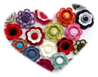 Crochet Flower - Applique - Corsage Brooch - Any Colour - Made to Order