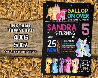 Little Poni Invitation, Little Poni Birthday, Little Poni Party, Little Poni Card, Little Poni Printable, Little Poni, Invitations_SF1015
