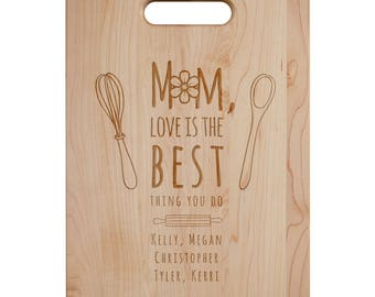Mom Love Is The Best Cutting Board - Engraved Cutting Board,Personalized Cutting Board, Wedding Gift, Housewarming Gift, Anniversary Gift
