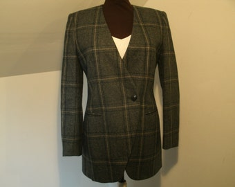 Long Asymmetrical Blazer Wool Deep V No Collar Green Black Gray Plaid Jones New York Jacket Business Casual Clothing Women's Size 6 Small