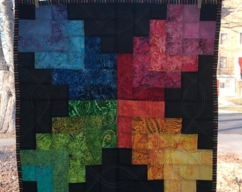 Colorful and Contemporary Quilted Wall Hanging or Table Topper