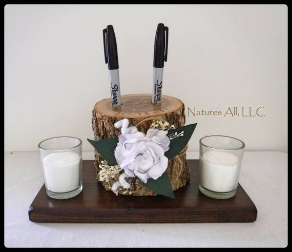 Pen Holder AND Rustic Wood Base/Guest Book Pen Holder-Ash With Satin Flower And Dark Walnut Base/Log Pen Holder/Rustic Decor