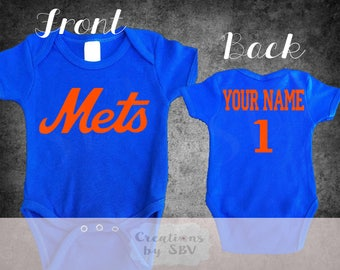 New York Mets customize Royal Blue baby bodysuit, Mets Baseball bodysuit, Mets Bodysuit