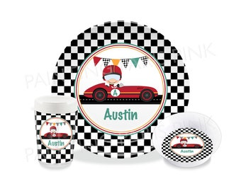 Vintage Race Car Melamine Dinnerware | Personalized | Customized | Buy 1 Piece or as a Set | Checkered Flag