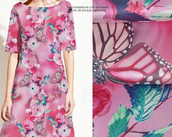 Floral Butterfly Print Pink Stretch Silk Satin Fabric Width 46 inch